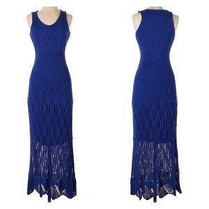 Cynthia Rowley Cobalt Blue Crochet Maxi Dress XS